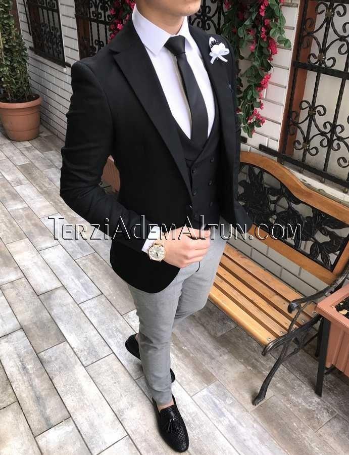 05a3053e57eba İtalyan stil erkek ceket yelek pantolon siyah kombin takım elbise T2306