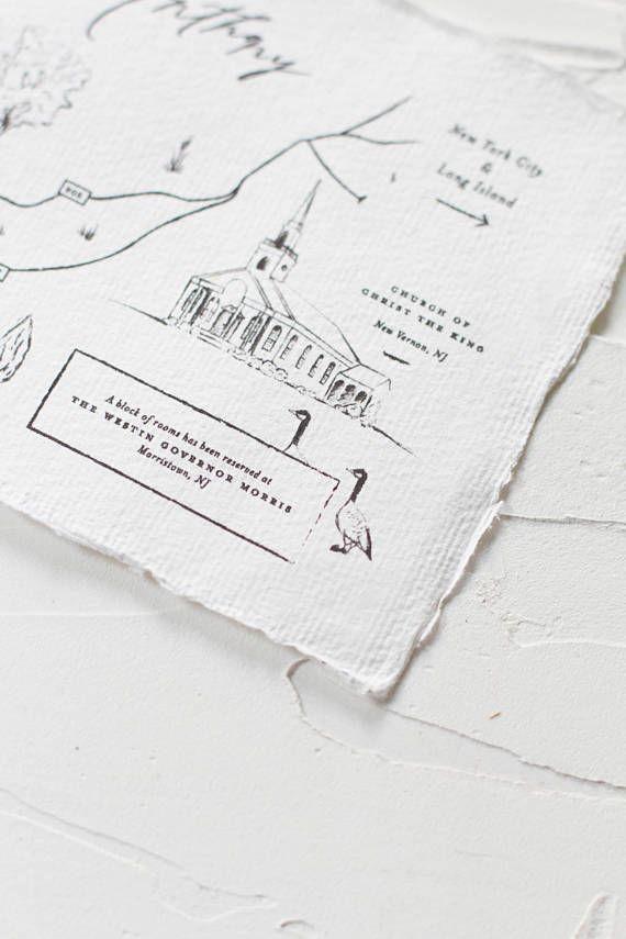 Handdrawn Map Rustic Destination Wedding Invitation Elegant