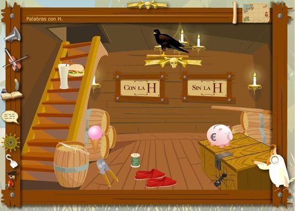"""Juegos Educativos Online Gratis: Los Piratas de la Ortografía: Uso de """"h"""""""