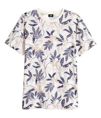Camiseta | Blanco natural/Estampado | Hombre | H&M CO