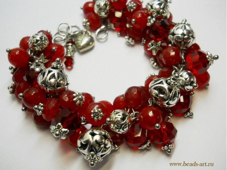 Браслеты из натуоальных камней от Ирины Жильцовой. Яркий браслет из красно-вишневого агата.