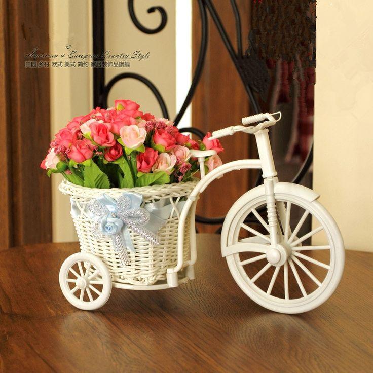 2 шт./лот качество ротанга ваза + цветы метров орхидеи чп хранения ротанга трехколесный велосипед искусственный цветок комплект предметы интерьера