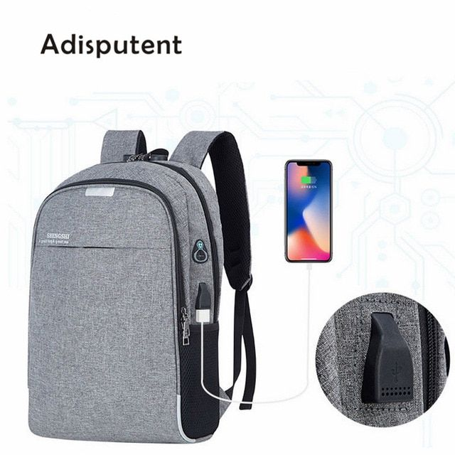 USB Charging Waterproof Travel Backpack Teenagers Anti-Theft 15.6 Inch Laptop Backpack Bag For College Student A GRAY