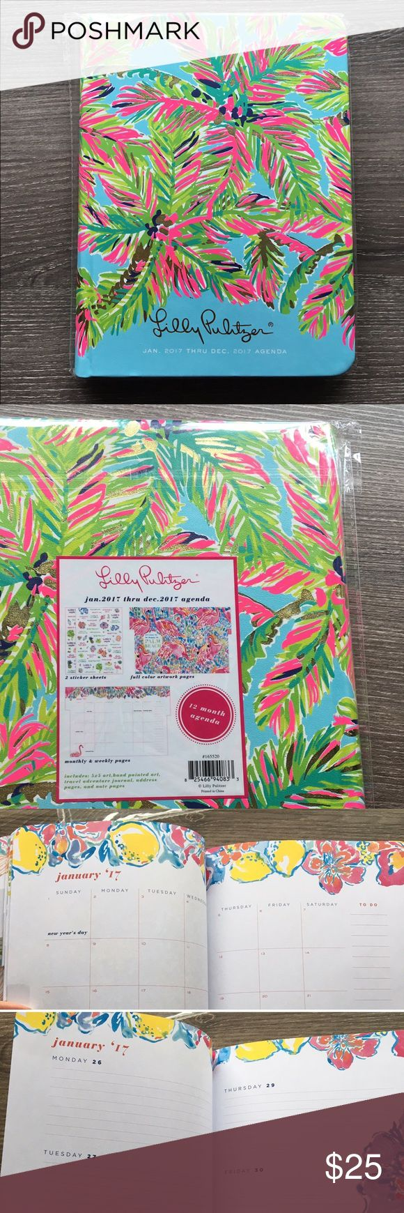 "Lily Pulitzer 2017 Planner 12 month Agenda Brand new hard cover Lilly Pulitzer 12 Month Agenda in ""Island Time"" - January 2017 through December 2017.  - Yearly, monthly and weekly calendar pages - Stickers, hand painted graphics, travel guide, dates to remember & journal section - Easy colored Mylar tabs - Durable hard leatherette cover with a reinforced binding feels luxurious  - Gold foil and neon accents  - Measures 9"" x 6 3/4"" x 3/4 - In original plastic wrap, only opened to take a few…"