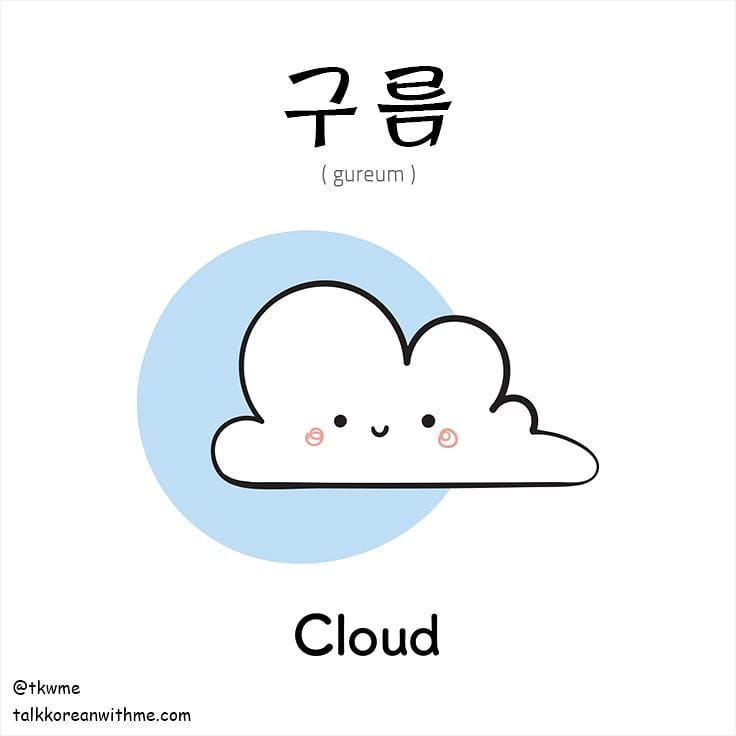 Learn Korean : How to say Cloud in Korean   what does 구름 mean