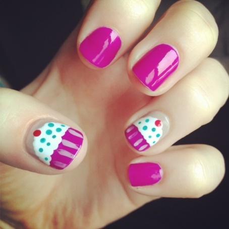 A cupcake nail art :-)