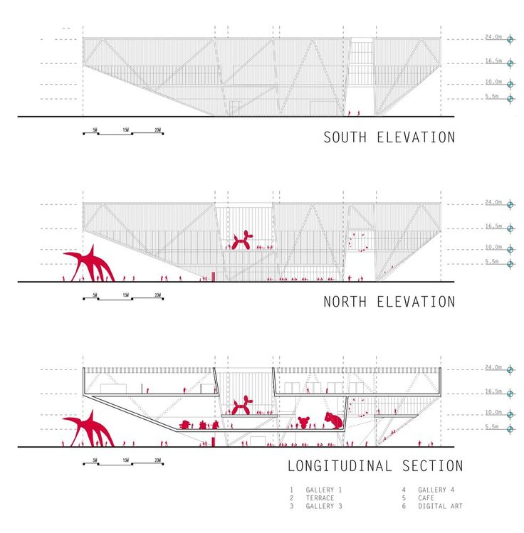 [BUENOS AIRES] New Contemporary Art Museum Competition Results,1st place / longitudinal sections and elevations / Courtesy of Shelby Ponce & Eduardo Ponce