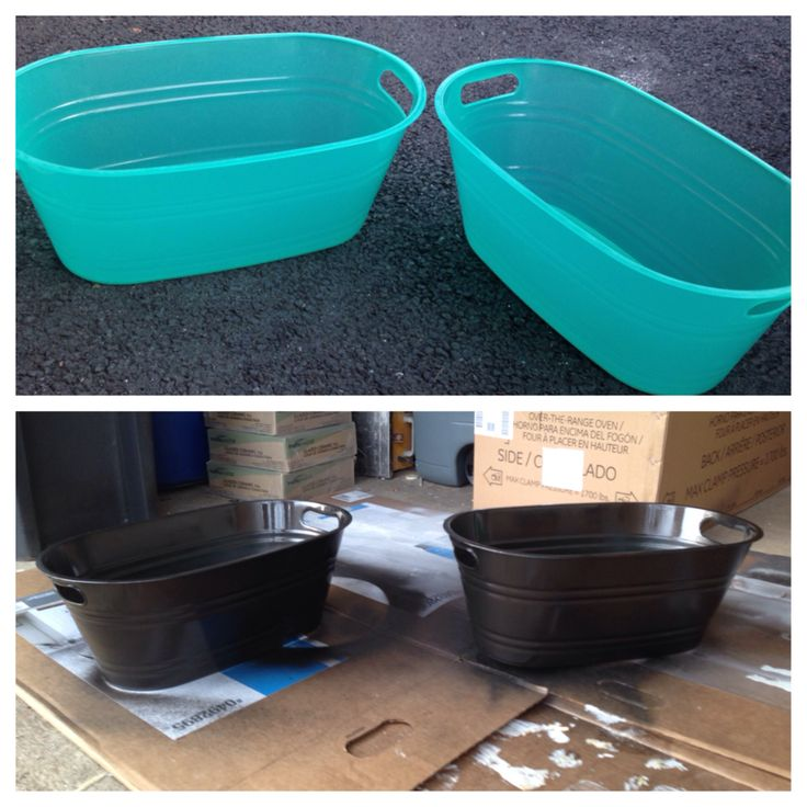 Spray paint plastic bins with a metal finish and you get great inexpensive ice buckets for BBQ's