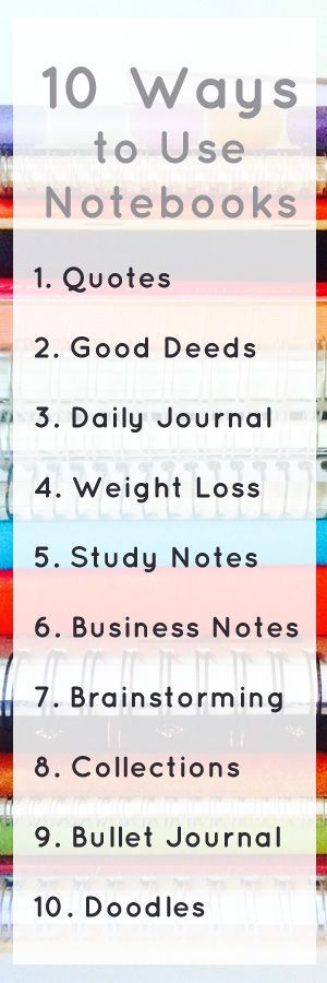 If you're a stationery addict or notebook addict, you may have a large notebook collection!  If you need some ideas on how to use up all those notebooks, here's this handy list. 10 ways to use all those notebooks - a quotes notebook, a bullet journal, a d