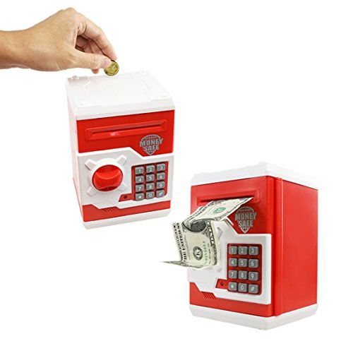 SZAT Funky Quality Electronic Money Bank Piggy Money Locker Coins Cashes Auto Insert Bills Safe Box Password ATM Bank Saver(Red)  Funky stylish designed not only insert coins, also can electronically rolling cash and bills into the money bank box, just like an real ATM bank machine.  With the reasonable space design, the money bank can also secret small personal items, such as toy, passport, secret letters etc.  Personalized electric password pad and only can open this money safe box b...