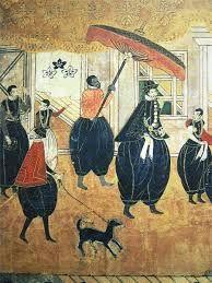 """10 – El comercio Nanban , el comercio bárbaro del sur o el período de comercio Nanban - Boeki jidai, período de comercio bárbaro del sur,  en la historia de Japón se extiende desde la llegada de los primeros  europeos -los exploradores portugueses, misioneros y comerciantes - a Japón en 1543, a su exclusión casi total del archipiélago en 1614, en virtud de la promulgación de las leyes """"Sakoku"""