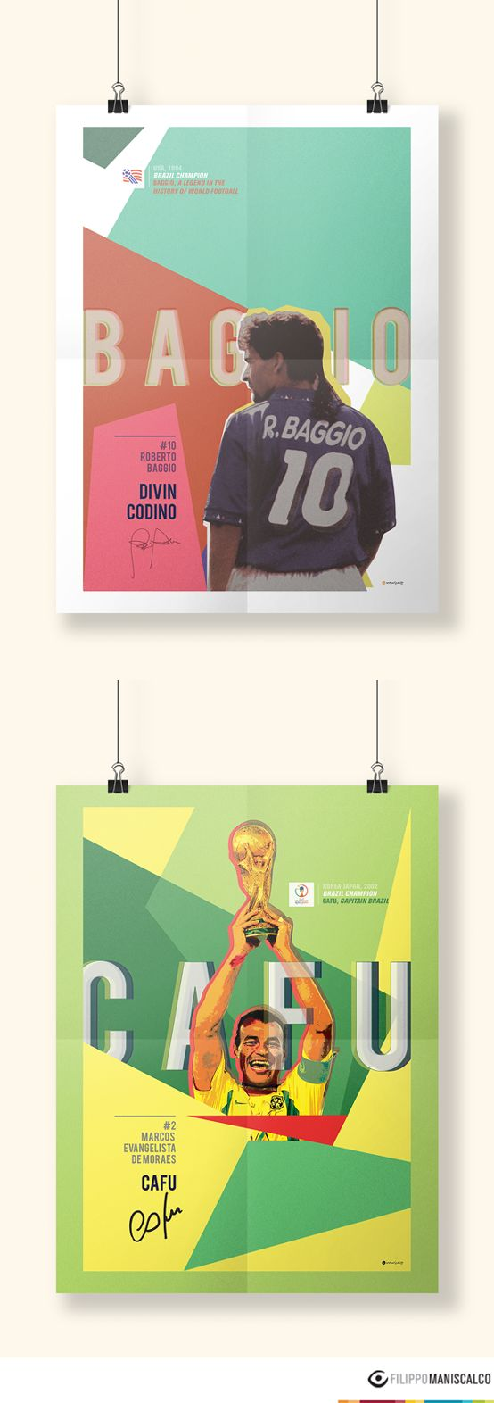 Collection of eleven illustrations on the players of the World Cup in 40 years. Inside each poster there is a feeling that there always exist. #HistoryofWorldCup #Baggio #DivinCodino #Cafu #USA94 #KoreaJapan2002