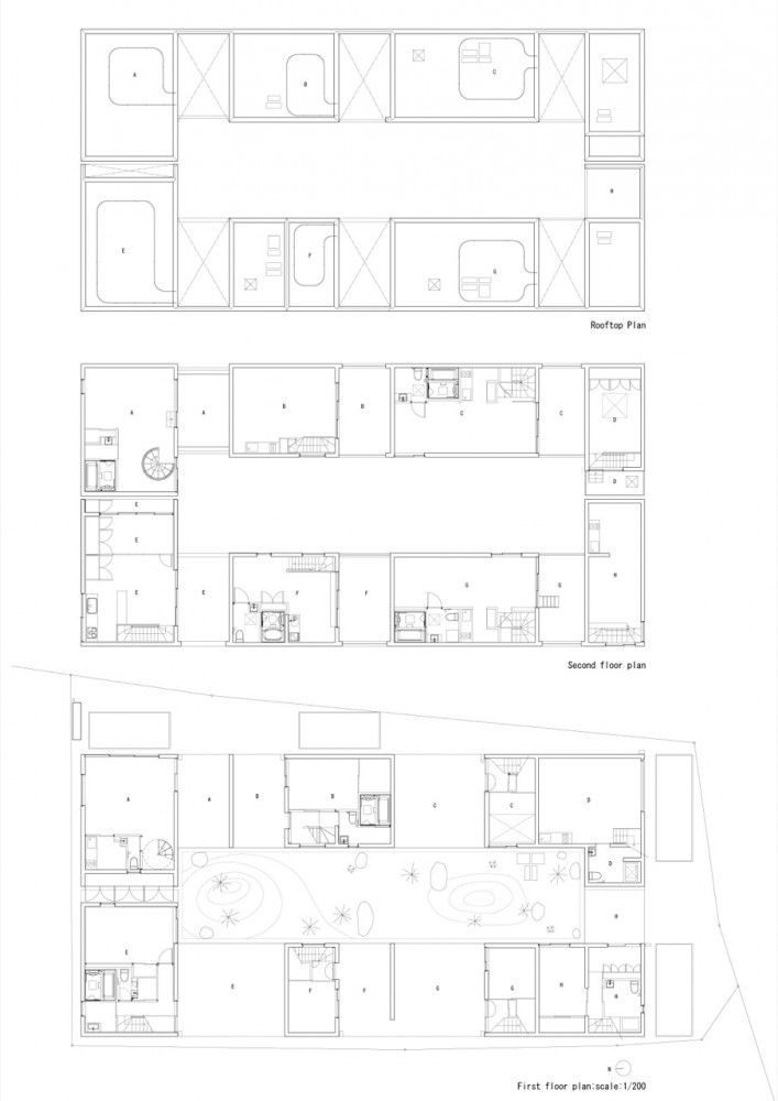 plan, cluster, shared houses
