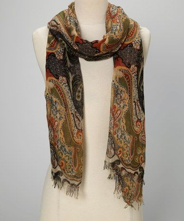 Look at this #zulilyfind! Natural & Black Abstract Scarf by Torino Scarf Collection #zulilyfinds