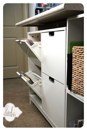 """""""Shoe"""" storage chest from Ikea- holds 12x12 paper perfectly! Idea by Heidi Swapp :)"""