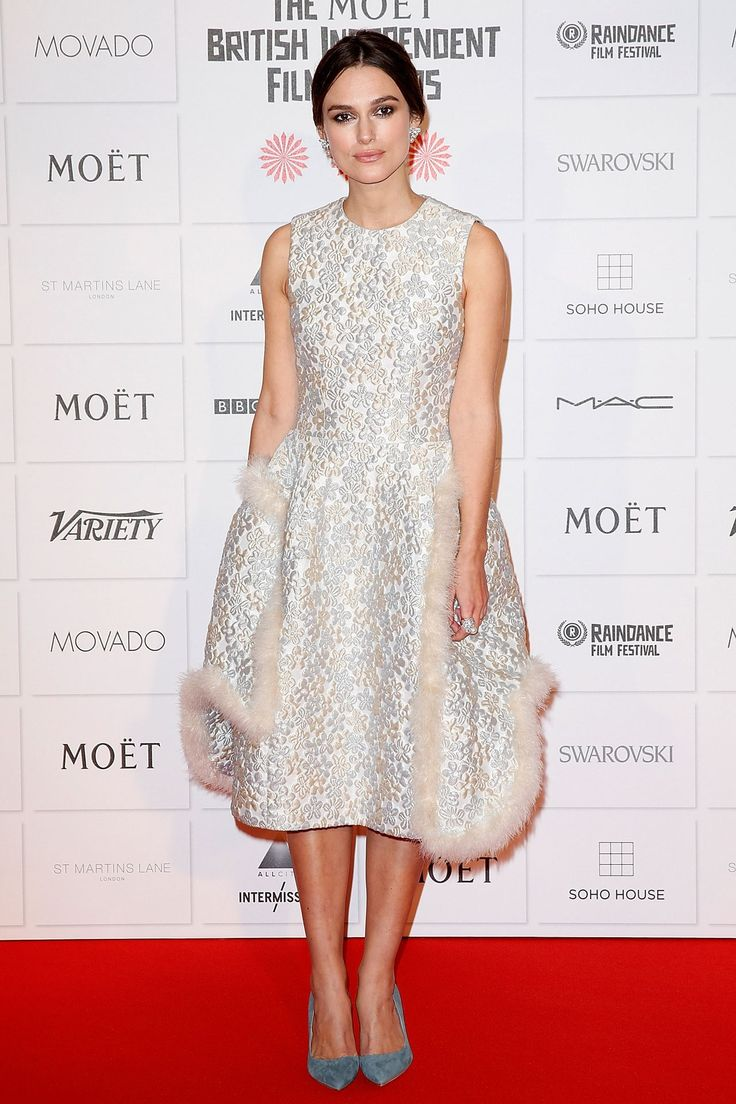 Keira Knightley wore a dress by Simone Rocha with Rupert Sanderson heels.