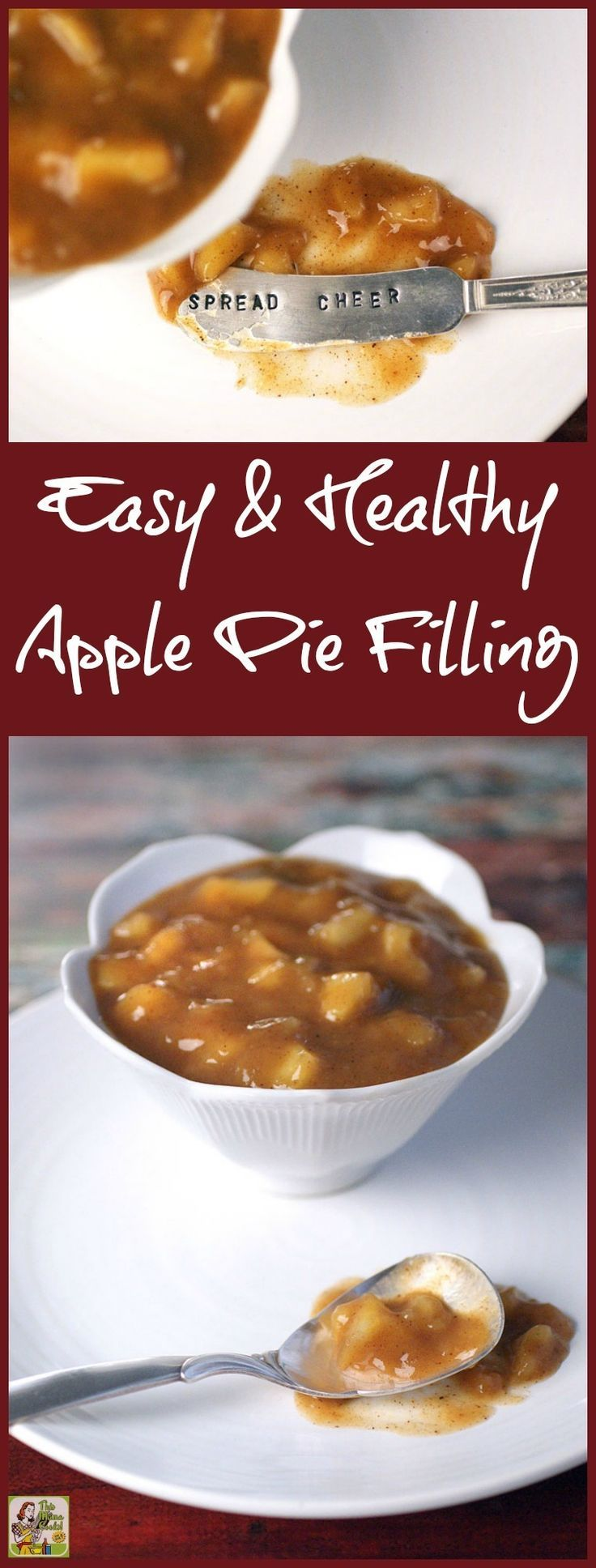 Homemade Easy & Healthy Apple Pie Filling is easier to make than you think! It's also gluten free and cheaper to make than buying canned apple pie filling at the store. Double or triple a batch and freeze to use in all sorts of apple pie dessert recipes.
