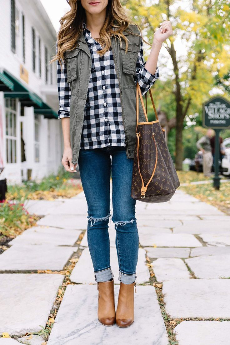 gingham shirt, rolled up jeans, cognac ankle booties, rolled jeans and booties, gingham shirt and utility vest, LV neverfull monogram tote GM, fall outfit