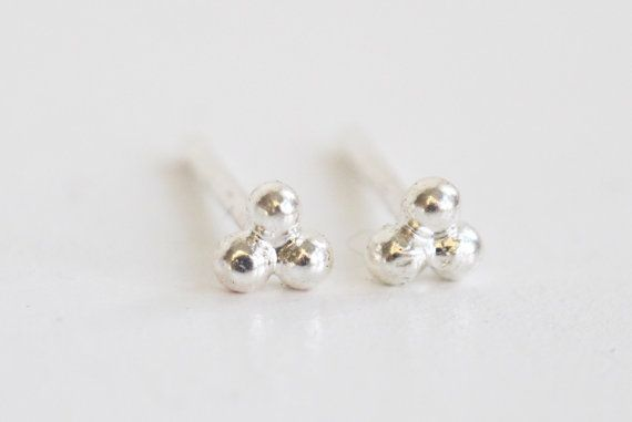 Ball Studs Delicate Small Sterling Silver by WildFawnJewellery