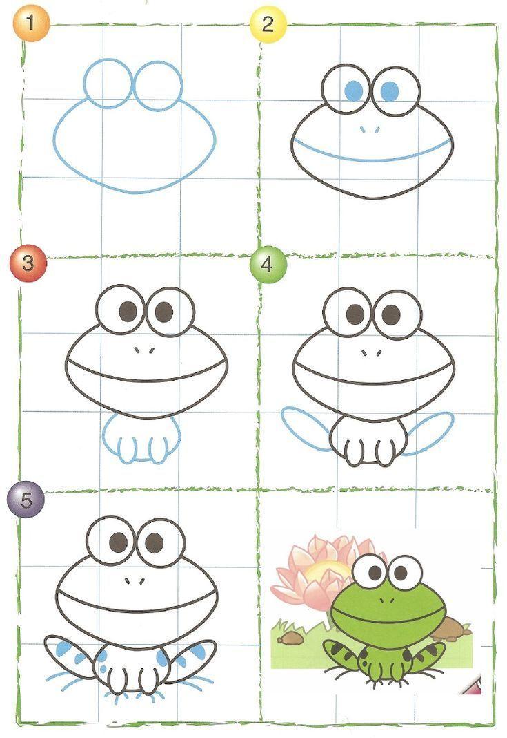 easy drawing drawings lessons directed cartoon animal tekeningen doodle dieren thema kikker malen frog froesche animals kinderen voor eenvoudig kunstlessen