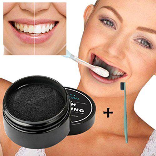 Bonjouree Poudre De Blanchiment Des Dents Organiques Naturelles Activé Dentifrice Au Charbon De Bambou + Brosse à dents: Contenant…