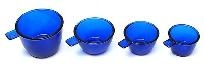 Cobalt Blue Glass Measuring Cup Set - Free Shipping
