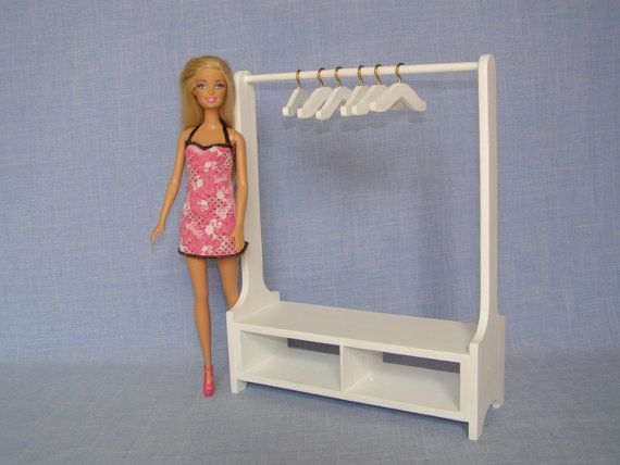 wooden barbie doll furniture. Scale Doll Clothes Rack For 12 Inch Doll/ Handmade Wood Clothing / Barbie Size Dollhouse Furniture Wooden
