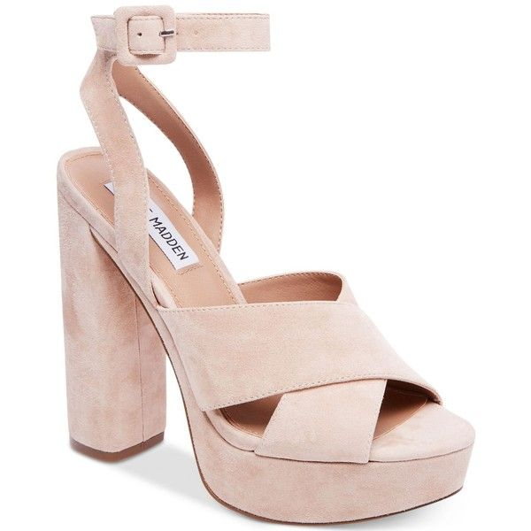 Steve Madden Women's Jodi Platform Sandals ($109) ❤ liked on Polyvore featuring shoes, sandals, blush suede, steve madden sandals, ankle wrap sandals, steve madden shoes, high platform shoes and platform sandals