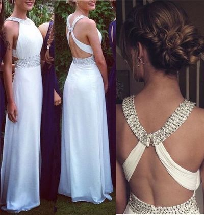 White Prom Dresses Open Backs Simple Beaded A Line With Straps Glitter Backless…