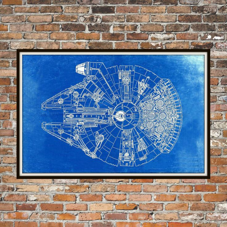 Star Wars Millennium Falcon Blueprint Art of The Millennium Falcon Top View Engineering Drawings Patent Blue Print Art Item 0190 (10.00 AUD) by BigBlueCanoe