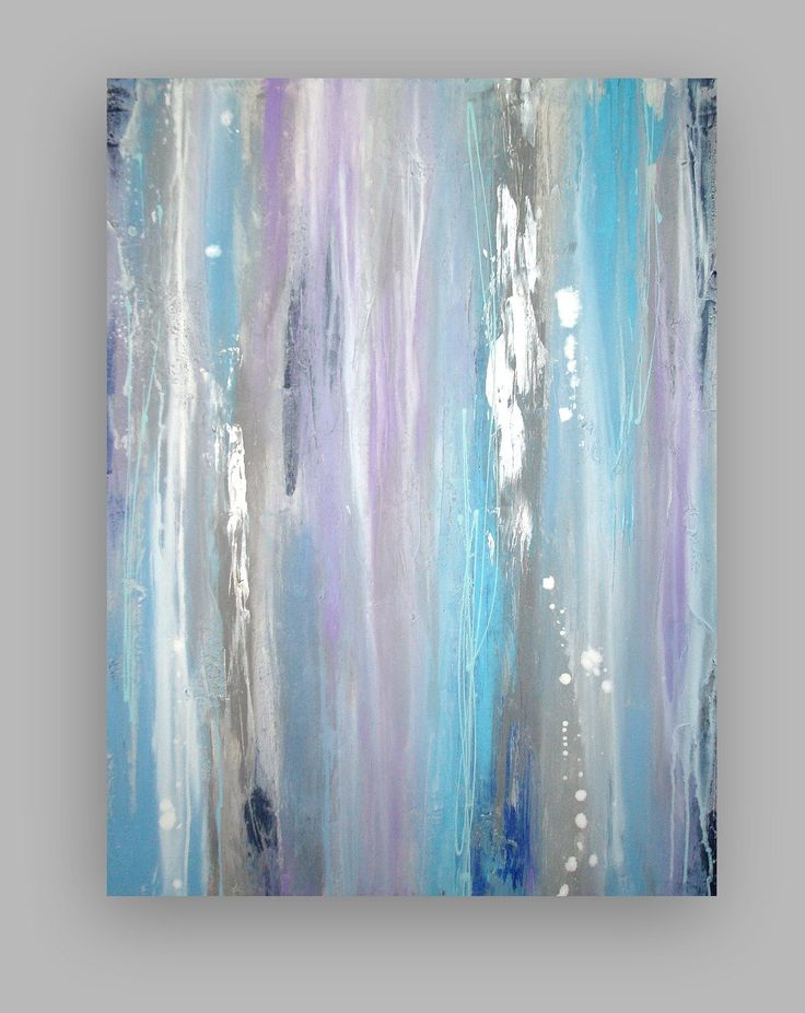 """Original Gray and Blue Acrylic Abstract Painting Titled: Silver Lining 30x40x1.5"""" by Ora Birenbaum. $365.00, via Etsy."""