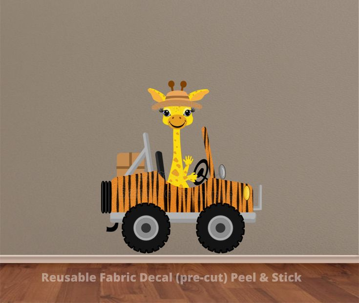 Giraffe+Driving+Cheetah+Prints+Safari+Jeep+Wall+Decal+Sticker+[an-0200]+-+$59.99+:+Paintless+Deco+Impressions,+Wall+Decals,+Canvas+Prints+and+other+Home+Decor+Store