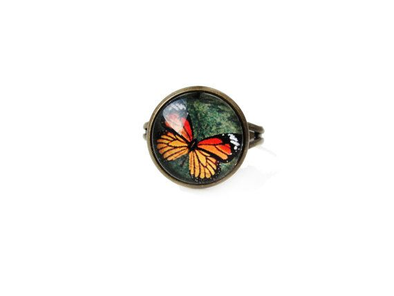 Butterfly small adjustable ring, animal insect theme, 12mm glass dome photo cabochon bezel statement ring, simple elegant, orange green