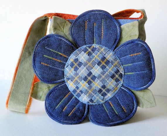 Denim Petals Upcycled Repurposed Fabric Purse on Etsy, $44.00