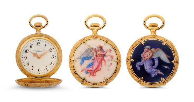 Patek Philippe. A Fine and Attractive 18k Gold and Enamel Hunter Case Pocket Watch with Breguet Numerals SIGNED PATEK PHILIPPE & CIE., GENÈVE, MOVEMENT NO. 119'581, CASE NO. 231'620, MANUFACTURED IN 1903 Price realised USD 16,250