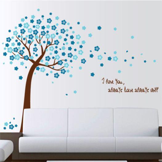 Hemdekor - Väggdekor Träd I Blå Blomster