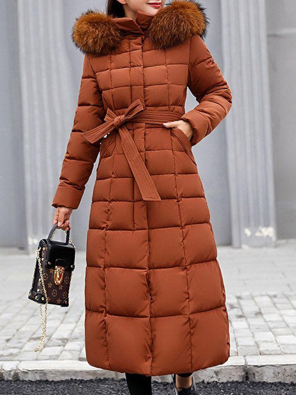 Hooded Fur Collar Belt Plain Coat   Fall
