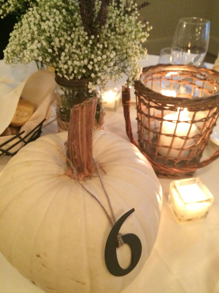 Fall wedding. White pumpkin. Table numbers. Baby breath and lavender in mason jars.