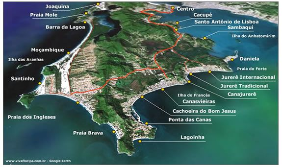 Veduta di North Isola Google Earth spiagge di Florianopolis : Canasvierias, Cachoeira, Lagoinha, Praia Brava, Ingleses, Santinho, Jurere, Daniela - Floripa Isola Santa Catarina Brasile