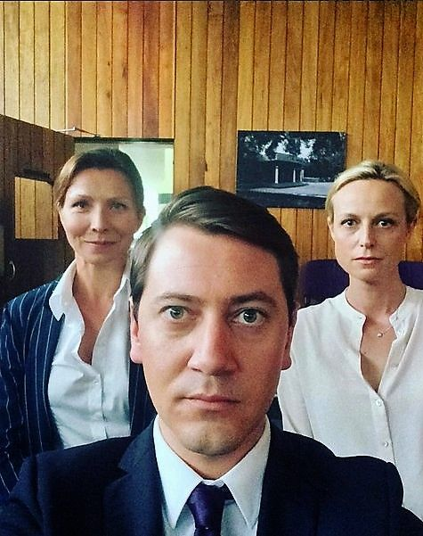 Anita Hegh, Hamish Michael and Marta Dusseldorp on the set of Janet King season 2. Bianca Grieve. Bianking + Richard.