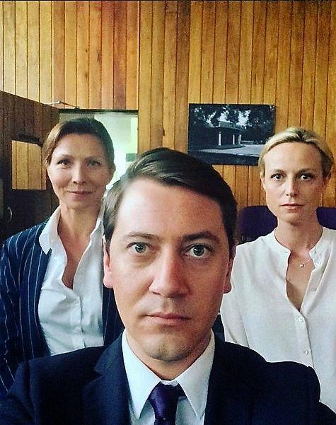 Anita Hegh, Hamish Michael and Marta Dusseldorp on the set of Janet King season 2. Bianca Grieve. Bianking + Richard.