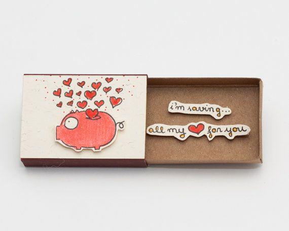 Cute Piggy Bank Valentine Matchbox / Card / Gift box / by shop3xu