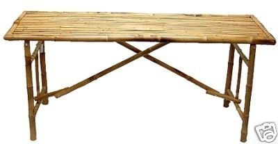 Bamboo Folding Table.   Great for restaurants, tropical home decor tiki or beach themed backyards. Tropical store displays. $139.00  805-479-8454  M-F 9am-5pm PST or eBay user ID: TIKITOESCA or email address:  TikiToesCa@aol.com Thanks! Michele Craft.  Click on the picture to take you to order page.