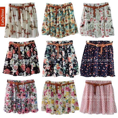 Hot Summer Fashion 2014 New Korean Woman Chiffon skirt Pleated Short Skirts Patterns Printed Women skirt With Belt Free Shipping $6.99
