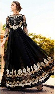 Black Color Georgette Abaya Style Long Salwar Kameez | FH506677256 #heenastyle , #boutique , #pakistani, #salwar , #kameez , #suit , #dresses , #styles , #fashion , #clothing , #henna , #designs , #mehndi , #more , @heenastyle , #party , #online , #abaya