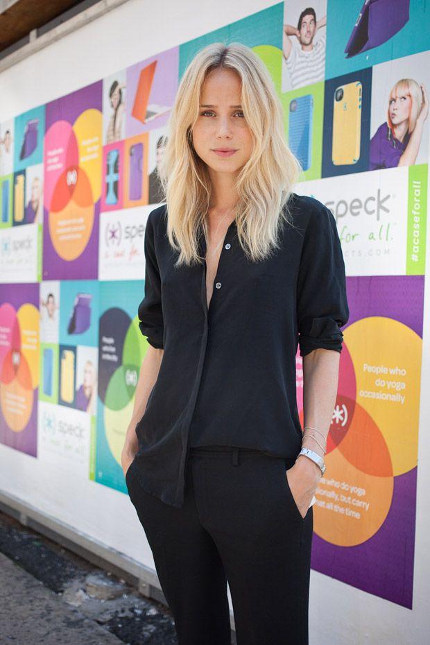Elin Kling wearing black on black in New York | NYFW street style | Xssat Street Fashion
