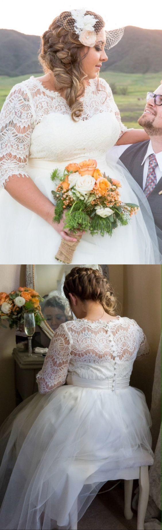 Elegant Long Half Sleeves Lace Wedding Dresses Plus Size