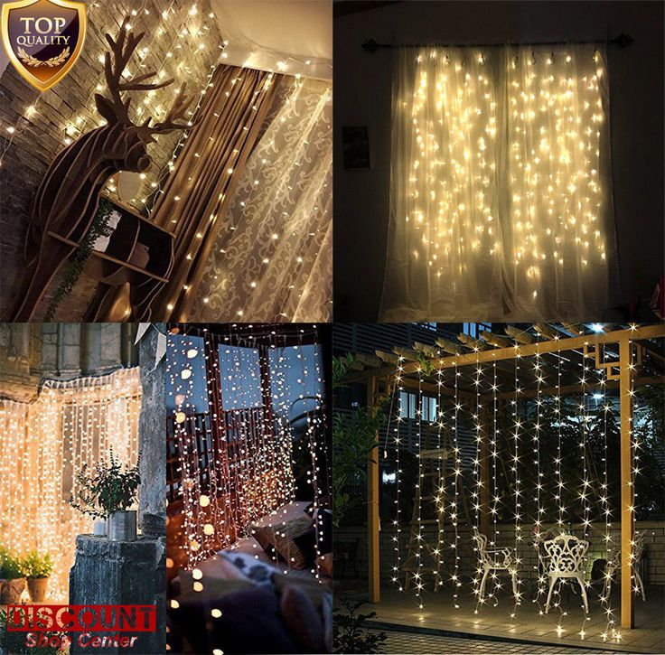 300 LED Window Curtain String Lights Christmas Wall Decor Indoor Outdoor Home #Twinkle