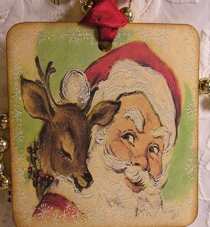 Vintage Christmas Tags - Santa and his Reindeer.