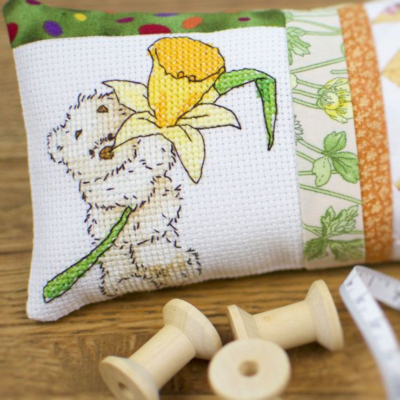 Pincushion Bear with daffodil  cross stitch and patchwork